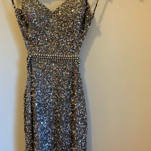 Short Gray Sequence dress